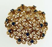 Vintage 14k Yellow Gold Natural Diamonds And Sapphires Floral Wreath Brooch Pin