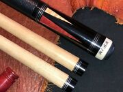 Mike Webb Custom Pool Cue With 2 Maple Shafts. Leather Wrap.