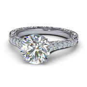 Round Cut Shape 14k Solid White Gold 0.75ct Diamond Engagement Rings