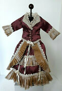 Antique Reproduction Silk Dress For 17 - 19 French / German Fashion Doll