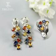 Colorful Sapphire Earrings Rings Jewelry Set