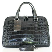 Authentic M Crocodile Belly Skin Menand039s Laptop Business Bag Large Black W/strap