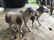 Vintage Celluloid Bighorn Sheep Pair Goat Toy Viscoloid Co.