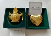 Baldwin Brass Puffed Heart 7223.010 And Mrs. Snowman 7179.010 Ornaments W/ Boxes