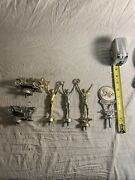 Vintage Lot Of 6 Silver And Gold Metal Trophy Toppers - Racing