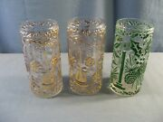 Lot Of 3 Imperial Glass Tumblers W/ Christmas Poinsettia Holly Etc Design