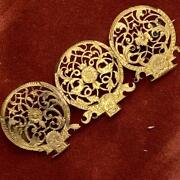 Antique Victorian English Gold Gilt Face Watch Cock Face Brooches Broach Pin