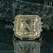 Gold Ring Initial Letter Alphabet Real Band Diamond Yellow 14k Crystal Jewelry