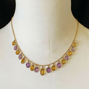 Antique Victorian 9ct Gold Citrine And Amethyst Fringe Necklace On Barrel Clasp