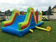 Inflatable Bouncer Tunnel Obstacle Course Trampoline Slide House + Blower 21x9x8