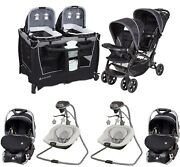 Baby Double Stroller Combo Twins Nursery Center Newborn Car Seat And Base Swing