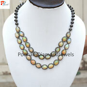 Fire Opal Necklace Diamond Beads Necklace 925 Solid Silver Pave Gemstone Jewelry