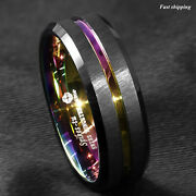 8/6mm Black Brushed Tungsten Carbide Ring Rainbow Line Wedding Band Atop Jewelry