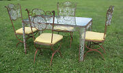 Vintage Woodard Wrought Iron Patio / Sun Room Dining Set Table And Chairs - Nice