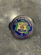 """New York Shields Police Pipes And Drums Mini Badge Lapel Pin Button 1995 1"""""""