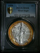 1998 American Silver Eagle Pcgs Ms68 Beautiful Naturally Toned
