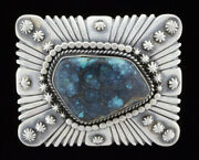 Natural Bisbee Turquoise Belt Buckle By Navajo Artist Raymond Delgarito
