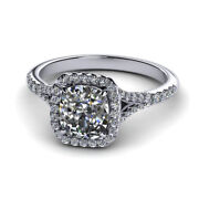 0.90 Ct Real Vs1 Diamond Engagement Ring 14k Solid White Gold Size 5