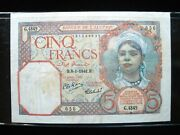 Algeria 5 Francs 1941 French Algerie Nice 636 Bank Currency Banknote Money