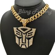 Transformer Autobot Pendant And 16 18 20 Iced Box Lock Cuban Chain Necklace