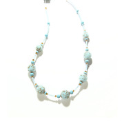 Murano Glass Turquoise Copper Ball Silver Necklace Venetian Glass Jewelry