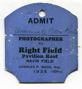 Scarce 1935 Detroit Tigers Chicago Cubs World Series Right Field Press Pass