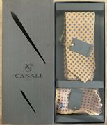 New Canali 100 Silk Yellow Tie And Pocket Square Set, Hand Made In Italy