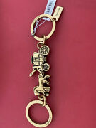 Nwt Coach Metal Horse And Carriage Valet Brass Bag Charm Keychain Key Fob 87983