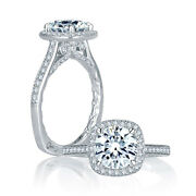 A.jaffe Intricate Channel Set Cushion Halo Quilted Engagement Ring Mes754q/191