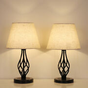 2 Pack Traditional Bedside Table Lamps Bronze Metal Drum Shade For Living Room