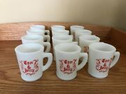 Vintage Mckee Glass Tom And Jerry Mugs Set Of 12 Red On White D Handle Hobnail
