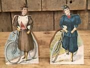 Antique Late 1890s Columbia Bicycle Advertising Countertop Cut Out Sign Displays