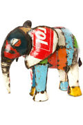 Colorful Recycled Oil Drum Elephant Sculpture