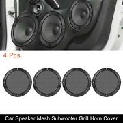4pcs 6.5and039and039 Car Metal Speaker Cover Mesh Subwoofer Grill Horn Guard Glossy Black