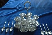 Victorian Hallmarked Solid Silver 6 Egg Cup Cruet And Spoons By Barnard And Son 1872
