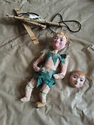 Vintage 1940s Water Baby Handmade Composition Marionette In Keds Box
