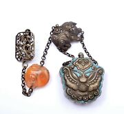 Chinese Solid Silver Enamel Moth Perfume Snuff Bottle Agate Lion Dog Charm