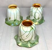 Steuben Heart Vine And Feather Art Glass Lighting Shades Matching Set Of 3 Nice
