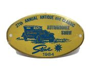 27th Annual Antique And Classic Automobiles Show Metal Plaque Stowe 1984