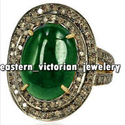 Vintage Style 18.61ct Pave Old Mine Rose Cut Diamond Emerald Silver Ring Jewelry