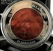 Solomon Islands 2019 50 Years Of Moon Landing Mother Of Pearl Silver Coin.