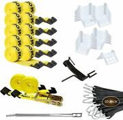 Dc Cargo Mall Flatbed Tie-down Kit - 84 Pieces 4 Inch Flatbed Winch Straps,...