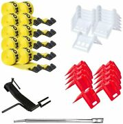 Dc Cargo Mall Flatbed Tie-down Kit - 32 Pieces 4 Inch Flatbed Winch Straps,...