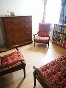Vintage Mid Century Wood Fabric High Backed Arm Chairs Studio Couch Style Sofa