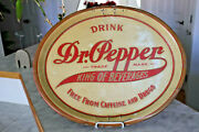 Vintage 1900s Dr. Pepper Oval Advertising Tin Tray