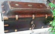 Rare Wooden Brass Fitted Indian Mughal Handcrafted 5 Compartment Box 4 Lockandkeys