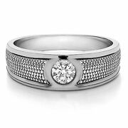 0.25 Ct Natural Diamond Certified Mens Rings 14k Solid White Gold Bands Size 10