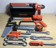 14 Pc. Black And Decker Plastic Toy Tool Box And Tools Pretend Play