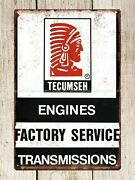 Wall Deco Tecumseh Engines Factory Service Transmissions Metal Tin Sign