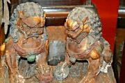 Pair Large Antique 19th Century Chinese Cast Iron Fo Dogs/temple Lionsc1890